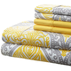 Hotel 5th Av 90gsm Microfiber Sheet Set-GrayYellow Medallion
