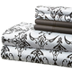 Hotel 5th Ave 90gsm Microfiber Sheet Set -Black/White Scroll