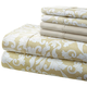 Hotel 5th Ave 90gsm Microfiber Sheet Set - Gold Damask