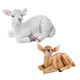 Fawn and Lamb Resin Statue Set