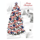 Patriotic Tree Christmas Card Set of 20 Card Only Personalization
