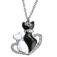 Kittens in Heart Necklace with Magnetic Clasp