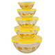 Glass Sunflower Serving Bowls - Set of 5