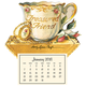 Treasured Friend Mini Magnetic Calendar, Gold