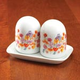 Floral Porcelain Salt and Pepper Shakers with Tray