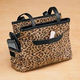 Leopard Patch Suede Leather Handbag
