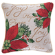 Holiday Needlepoint Poinsettia Pillow Cover, Multicolor