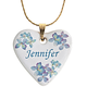 Personalized Porcelain Heart Necklace With Chain, Blue
