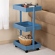 Blue 3-Tier Wooden Rolling Cart by OakRidge Accents