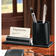 Leather Pencil Cup and Card Stand, One Size