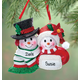 Personalized Snowmen Couple Christmas Ornament, One Size