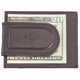 Personalized Brown Leather Money Clip/Card Holder, One Size