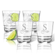 Personalized Acrylic Rocks Glass Set Of 4 With Scroll Initia, One Size