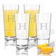 Personalized Acrylic Hign Ball Glass Set/4 W Times Initial, One Size