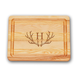Personalized Small Block Cutting Board With Antler Initial, One Size