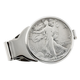 Monogram Walking Liberty Half Dollar Silvertone Money Clip, One Size