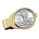Monogram Walking Liberty Half Dollar Goldtone Money Clip, One Size