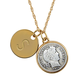 Silver Barber Dime Goldtone Personalized Pendant Necklace, One Size