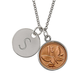 Butterfly Coin Silvertone Personalized Pendant Necklace, One Size