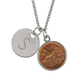 Hummingbird Coin Silvertone Personalized Pendant Necklace, One Size