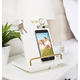 Personalized Gold Embossed White Lacquer Docking Station, One Size