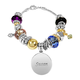 Personalized Two Tone Multi Color Charm Bracelet, One Size
