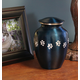 Personalized Blue Brass Paw Print Pet Urn, One Size