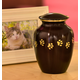 Personalized Brown Brass Paw Print Pet Urn, One Size