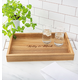 Personalized Acacia Tray With Metal Handles, One Size
