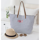 Personalized Striped Overnight Tote, One Size