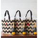 Personalized Chevron Natural Jute Tote Bag, One Size