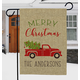 Personalized Red Truck Christmas Burlap Garden Flag, One Size