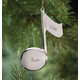 Personalized Silvertone Music Note Ornament, One Size