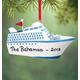 Personalized Cruise Ship Ornament, One Size