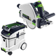 Festool P48561556 Plunge Cut Circular Saw with CT 48 E 12.7 Gallon HEPA Dust Extractor