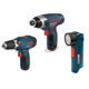 Factory Reconditioned Bosch CLPK30-120-RT 12V Max Cordless Lithium-Ion 3-Tool Combo Kit