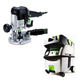 Festool PI574339 Plunge Router with CT MIDI HEPA 3.3 Gallon Mobile Dust Extractor