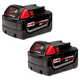 Milwaukee 48-11-1822 M18 XC 18V 3 Ah High Capacity REDLITHIUM Lithium-Ion Battery (2-Pack)