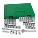 SK Hand Tool 91848 48-Piece 1/4 in. Drive 6-Point SAE/Metric Standard/Deep Socket Set with Pro Ratchet & Universal Joint