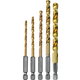 Makita D-35318 1/4 in. Hex Shank 5 pc. Titanium Coated Drill Bit Set
