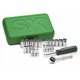 SK Hand Tool 91824 24-Piece 1/4 in. Drive 6 Point Semi-Deep SAE/Metric Socket and Ratchet Set