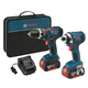 Factory Reconditioned Bosch CLPK245-181-RT Compact Tough 18V Cordless Lithium-Ion Hammer Drill & Impact Driver Combo Kit with High Capacity Batteries