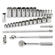 SK Hand Tool 4532 32-Piece 3/8 in. Drive 6-Point SAE Standard and Deep Socket with Ratchet