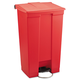 Rubbermaid 6146RED Indoor Utility 23-Gallon Rectangular Step-On Waste Container (Red)