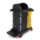 Rubbermaid 9T7500BK 22 in. x 48-1/4 in. x 53-1/2 in. High-Security Healthcare Cleaning Cart (Black)