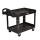 Rubbermaid 452088BK 500 lb. Capacity 25-1/4 in. x 44 in. x 39 in. Heavy-Duty Utility Cart (Black)