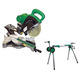 Hitachi C10FSHPS-BNDL 120V 10 in. Sliding Dual Compound Miter Saw with Laser Guide and Portable Stand