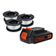 Black & Decker LBXR2020-OPES3 20V Max 2.0 Ah Lithium-Ion Slide Battery with AF-100 Trimmer Line Spools