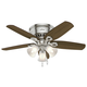Hunter 51092 42 in. Builder Low Profile Brushed Nickel Ceiling Fan with Light