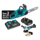 Makita XCU03PTX1 18V X2 LXT 5.0 Ah Cordless Lithium-Ion Chain Saw Kit and Angle Grinder Combo Kit